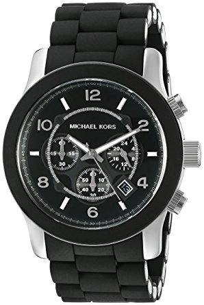 MK8107 Runway Black Chronograph Watch