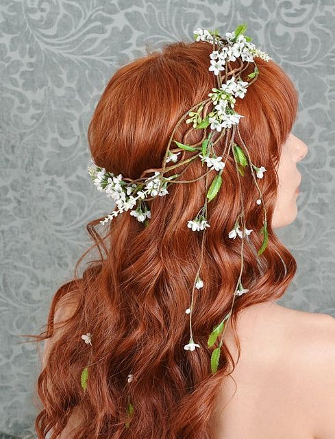 Wavy Prom Style with a Floral Band