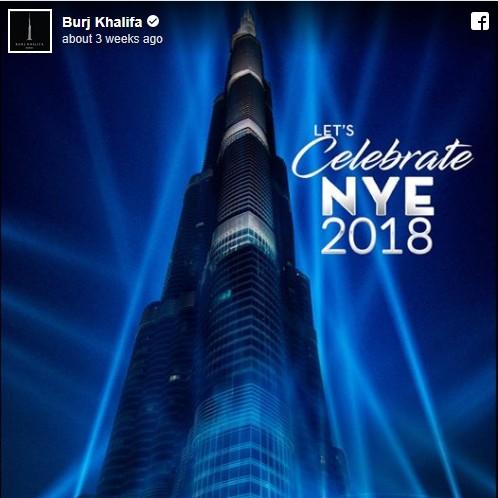 Neon Lights on New Year Celebration at Burj Khalifa